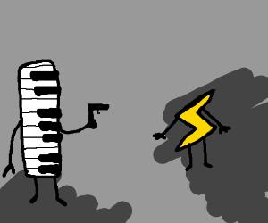 Piano pulls a gun on lightning bolt