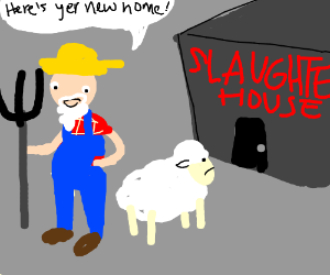 shepherd brings sheep to the slaughterhouse - Drawception