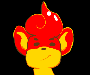 red monky with a afro apple (ears yellow)