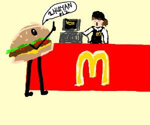 burger orders human at macdonalds