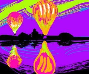 A majestic hot air balloon flight