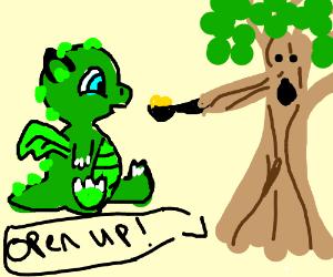 feeding a dragon with a liana