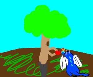 Tree feeding a baby dragon