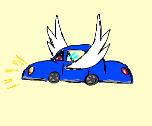 Black girl in flying car with wings