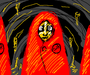 cult member in cave with red robe