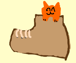 A happy orange cat inside a very large boot.
