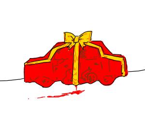 Suspicious red gift car