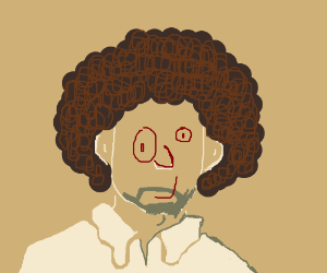 bob ross with a weird face drawing by cubston draws drawception