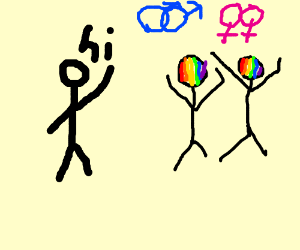 Cis person says 'hi' to gay/asexual people