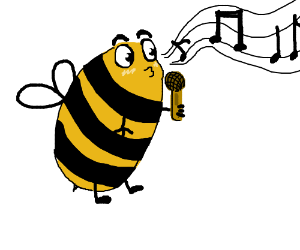 Bee with eyebrows sings