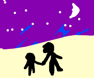 Starry sky over a two people in a desert