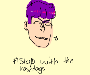 Unibrowed boy with purple hair