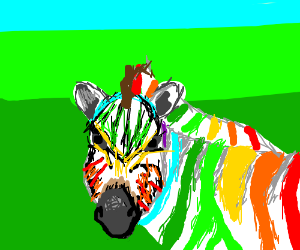 Zebra has rainbow stripes :D