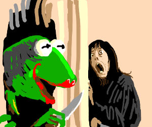 disturbed Kermit w lipstick wants to kill you