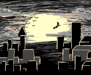 Silhouette of haunted town at midnight