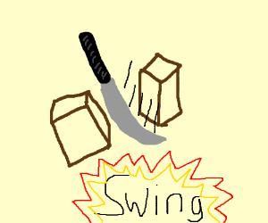 cutting a box in half