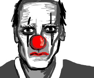 Hugh Laurie in clown makeup
