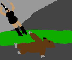 Woman drop-kicking a bear