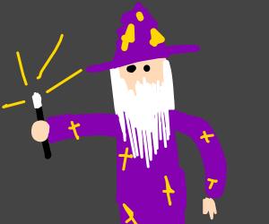 "very horribly drawn ""wizard"""