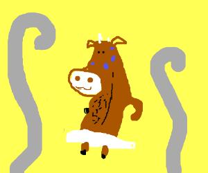 happy sweaty cow in sauna