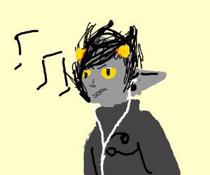 Karkat with headphones (from profile)