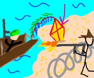 Kite lands on beach