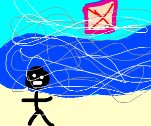 Man flying kite at a very windy beach