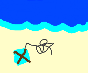 Person's kite gets tangled up in a beach