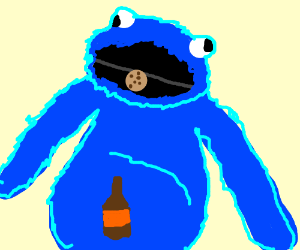 cookie monster furry with beer gut