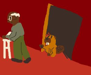 Beaver stalks old man