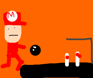 mario bowling drawing by cute spider