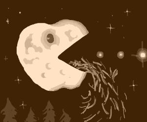 moon pac man shaped like apple barfs grass