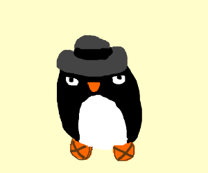 Penguin in a fedora and sandals