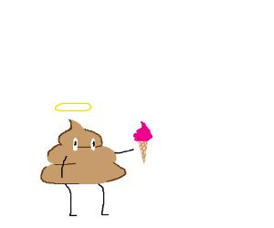 Angel Poop Emoji Eating Icecream Drawing By The Sponge Drawception