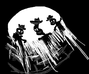 Heavily deformed cowboy looks down at you