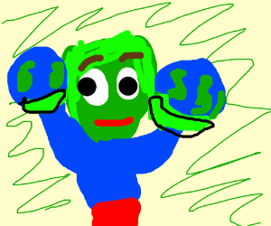 green man holding two worlds