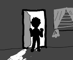 some creep lurks into a dark house