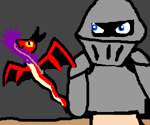 Wyrm steals pen from knight w/ glowing eyes