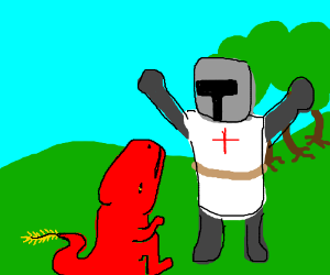 Knight annoyed by tiny dragon with a feather