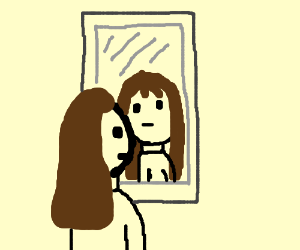 someone looking into the mirror - drawinganimallover4ever