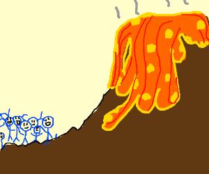 Blue men greet volcano