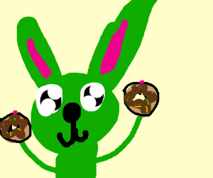 Green rabbit with twojelly donuts