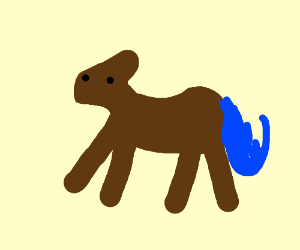 A Brown horse with a blue tail