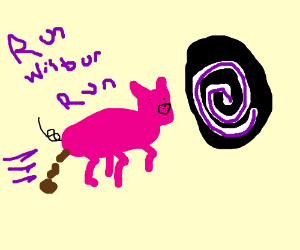 A pig pooping and running into the void