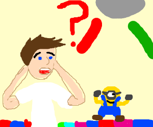 Man having a delusion of minion and dance