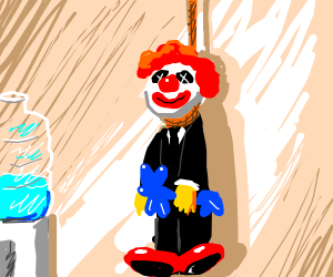 clown smiley businessman fed up with life