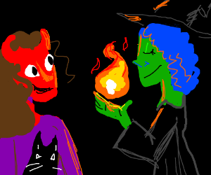 Demoness and her pets marvel at witch's magic
