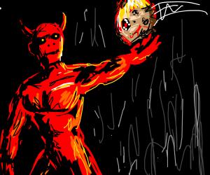 Satan catching someones head on fire