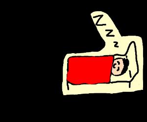 Guy sleeping in cosy bed