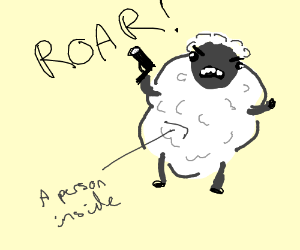 a sheep roaring after eating a guy with a gun